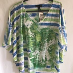 NWT Stripe and Floral print shirt w/bling!
